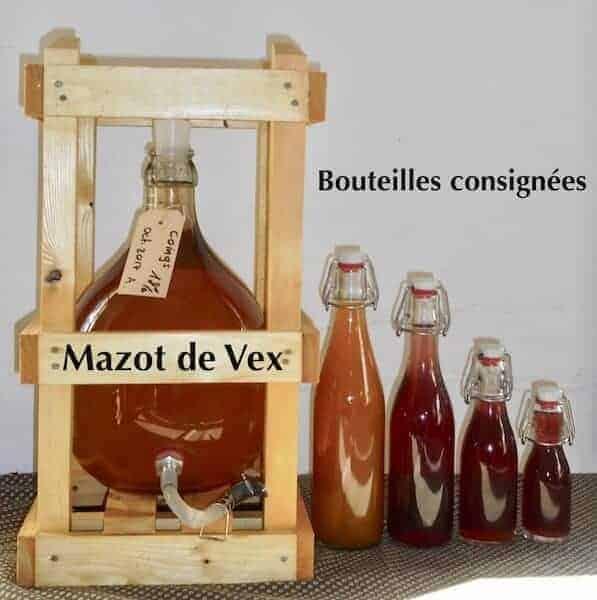 Mazot de Vex liqueur et eau de vie artisanale formats de bouteille